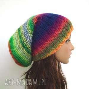 handmade czapki kolorowa długa czapka