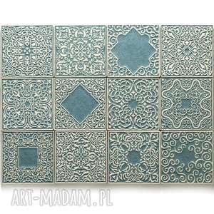 kafle szaro-turkusowe 12 ornamentów, kafle, dekory, płytki, marokańskie, ścienne