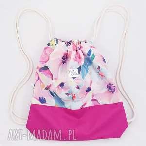 plecak z kordury, plecak, worek, kordura, kwiaty, vintage