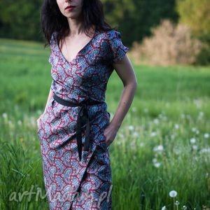 Sukienka Japonka, jedwab, wzorzysta, kopertowa, kimono, wiązanie