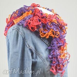 fantazyjny szal - pomarańczowy fiolet - szalik, modny, fantazyjny, kobiecy, apaszka