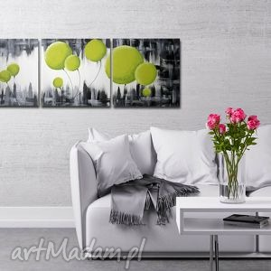 obraz dmuchawce seledynowe - 150x50cm duży ręcznie malowany, dmuchawce