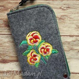 filcowe etui na telefon - fiołki, etui, smartfon, pokrowiec, bratki, kwiatki