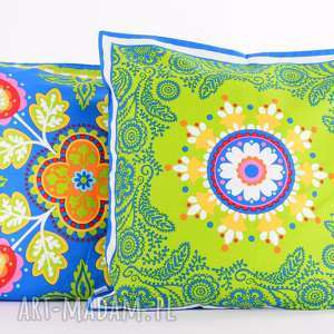 poduszka raz na ludowo - zieleń 50x50cm, folk od majunto, folk, folkowa, ludowe wzory