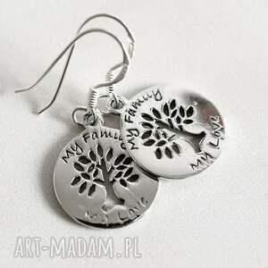 925 srebrne kolczyki moja rodzina - srebro, 925, srebrny, drzewo, życie, prezent