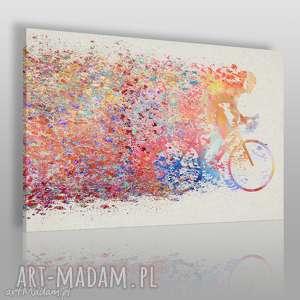 obraz na płótnie - rower kolarz kolory 120x80 cm 63601, kolarz, rower, kolorowy