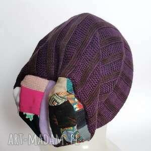 czapka damska fioletowa rozmiar uniwersalny na podszewce polecam box d1, wełna