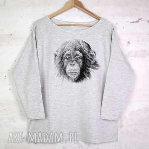 SZYMPANS Bluzka bawełniana szara z nadrukiem S/M, bluzka, bluza, koszulka, nadruk