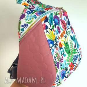 plecak mini galapagos różowa łąka, hexagon, wygodny, damski plecak