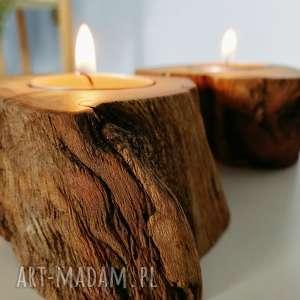zestaw 2 świeczniki drewno - ,świecznik,świeczniki,drewno,skandynawskie,eko,