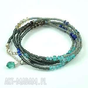 minerały i koraliki - bransoleta zawijana, naszyjnik, modna, srebro