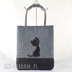 Duża szara torebka z filcu - czarnym kotkiem a4 na ramię green