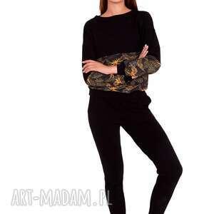 dres sportowy merg czarny z wzorem, dres, bluza, sukienka, płaszcz, bluzka