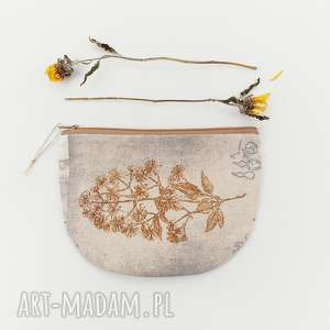kosmetyczka półksiężyc - ,kosmetyczka,vintage,saszetka,natura,kwiaty,beżowa,