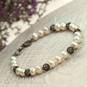 srebrna bransoletka z pereł a678, pereł, elegancka bransoletk