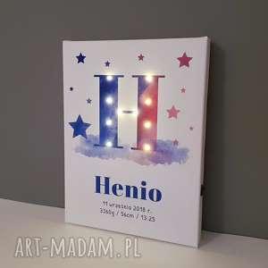 hand-made dla dziecka świecąca litera led personalizowany obraz metryczka prezent