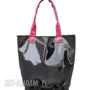 prezent na święta, torba shopper neon black, na-ramię, na-zakupy, na-plażę, duża
