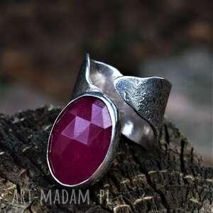 pierścień z agatem, minerałem, regulowana obrączka, klasyczny