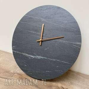 zegary zegar na ścianę - okrągły, czarny kamień, ścienny