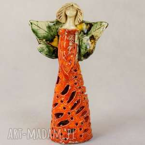 anioł ceramiczny, wykonany ręcznie, lampion