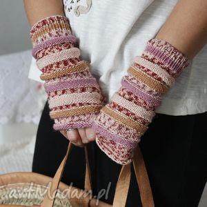 handmade rękawiczki mitenki pastelowe