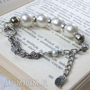 Bransoletka perłowo-srebrna, zróżnicowana, perłowa, regulowana, elegancka