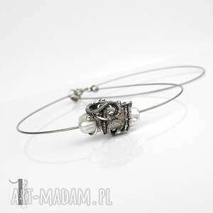 miechunka: bianca - srebrny naszyjnik z perłą biwa, naszyjnik srebrny, perła hodowlana