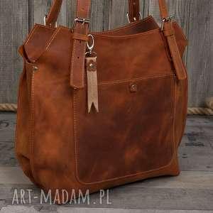 hand made na ramię ręcznie robiona skórzana torebka rudy brąz, brązowa torebka, damska