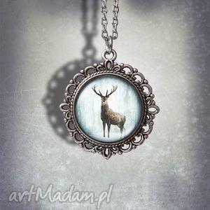 handmade naszyjniki medalion jeleń 3 - deer zdobiony
