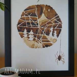 śnieżka w pajęczynie - obraz kawą malowany, pajęczyna