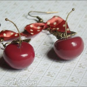 slodkie blyskotki cherry lady, wiśnie, modelina, fimo, listek, wiśnia biżuteria