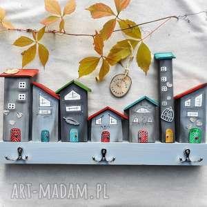 świąteczny prezent, szare domki wieszak - no6, domki, z domkami, do domu