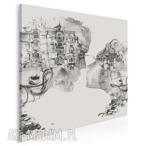 obraz na płótnie - pocałunek restauracja czarno-biały w kwadracie 80x80 cm
