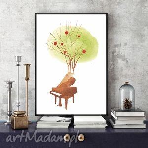 Zaczarowany Fortepian... art print, ilustracja, surrealizm, akwarela