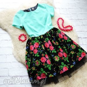 sukienka w stylu folk góralskie kwiaty tiulowa, sukienka, folk, cleo, góralska