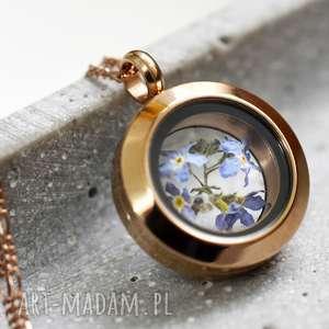 925 mini różowo pozłacany srebrny łańcuszek -kwiaty niezapominajki