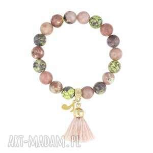 bransoletka z jaspisów - boho - kamień, chwost, nutka