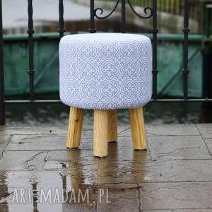 Pufa Szara Mozaika - 36 cm, puf, taboret, ryczka, stołek, siedzisko, hocker