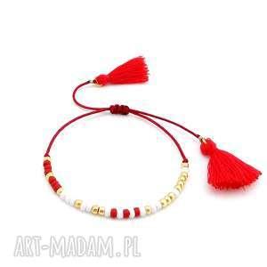 Bransoletka Minimal - Red Elegance, bransoletka, minimal, boho, elegancka, delikatna
