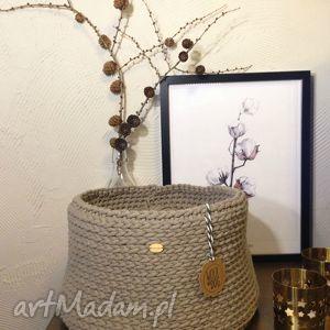 kosze beżowy koszyk xl, handmade, koszyk, sznurek, bawełna, basket dom, pod choinkę