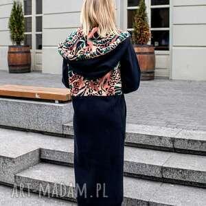 płaszcze mega długa bluza brazylia, kurtka w printy, bluza, ciepła