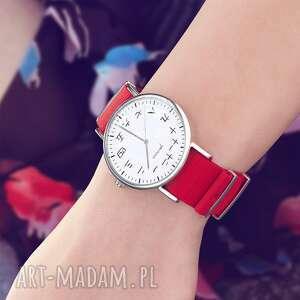 zegarek - kanji czerwony, nylonowy, zegarek, bransoletka, kanji, japoński