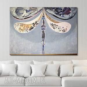 Obraz ręcznie malowany na płótnie - Ważka, akryl, malarstwo, ważki,