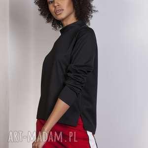 Bluza z dłuższym tyłem, BLU139 czarny, bluza, bluzka, trapezowa, stójka, casual
