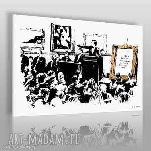 obraz na płótnie - banksy tłum 120x80 cm 20003, banksy, mural, tłum, zebranie