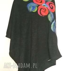 poncho z dzianiny wełnianej czarne, poncho, boho, etno, kwiaty, sweter, ciepłe