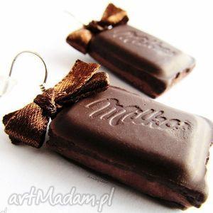 pod choinkę prezent, kolczyki dwie czekoladki, kolczyki, modelina, fimo, czekolada