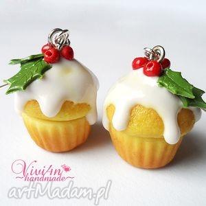 kolczyki świąteczne babeczki, fimo, modelina, cupcake, muffinki, święta