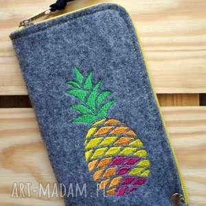 filcowe etui na telefon - ananas, pokrowiec, smartfon, koraliki, pineapple