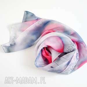 malowany szal - niebieskie i różowe maki, delikatny szal, jasny, jedwabny